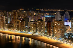 Illuminated skyscrapers of a Benidorm city at night. Spain Stock Image