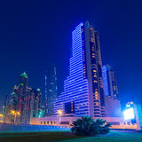 Illuminated skyscrapers of Dubai Marina at night Royalty Free Stock Image