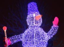Illuminated snowman Royalty Free Stock Photography