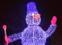 Illuminated snowman Royalty Free Stock Photography