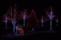 Illuminated Snowman and  trees Stock Photo