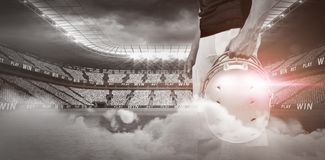 Illuminated soccer stadium Royalty Free Stock Images