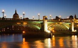 Illuminated Southwark Bridge Royalty Free Stock Photos