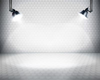Illuminated space for exposition. Royalty Free Stock Image