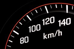 Illuminated speedometer Royalty Free Stock Photo