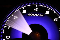 Illuminated speedometer Royalty Free Stock Photography