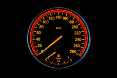 Illuminated Speedometer Stock Photography