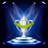 Illuminated sport cup on podium - winner award ceremony stage. Prize on podium stock illustration