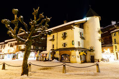 Illuminated Square in Megeve at Night Stock Photography