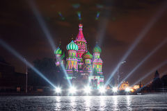 Illuminated St. Basil Cathedral and spotlight at night Royalty Free Stock Image