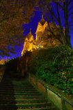 Illuminated St. Lutwinus church in Mettlach at night Royalty Free Stock Images