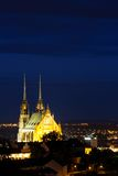 Illuminated St. Peter and Paul Cathedral at night, Brno Stock Image
