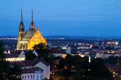 Illuminated St. Peter and Paul Cathedral at night, Brno Royalty Free Stock Photos