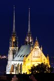 Illuminated St. Peter and Paul Cathedral at night, Brno Stock Photos