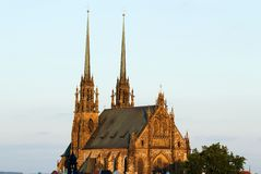 Illuminated St. Peter and Paul Cathedral at sunset, Brno Stock Images