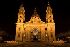 St. Stephen`s Basilica at Night, Budapest, Hungary royalty free stock images