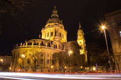 The illuminated St Stephens Basilica with traffic light trails i royalty free stock image