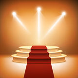 Illuminated stage podium for award ceremony  Royalty Free Stock Image