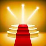 Illuminated stage podium for award ceremony  Royalty Free Stock Photography