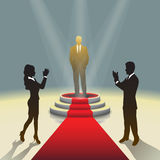 Illuminated stage podium with businessman and red carpet,  Vector illustration Stock Image