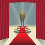 Illuminated stage podium with businessman and red carpet,  Vector illustration Royalty Free Stock Images