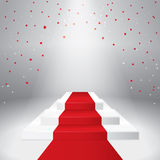 Illuminated stage podium with confetti. And red carpet. Vector illustration Royalty Free Stock Image