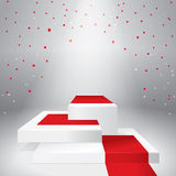 Illuminated stage podium with confetti. And red carpet. Vector illustration Stock Photos