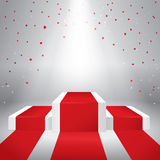 Illuminated stage podium with confetti. And red carpet. Vector illustration Stock Photo