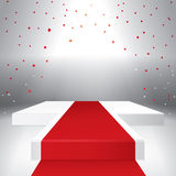 Illuminated stage podium with confetti. And red carpet. Vector illustration Stock Image