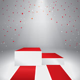 Illuminated stage podium with confetti. And red carpet. Vector illustration Royalty Free Stock Photo