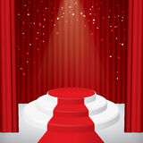 Illuminated stage podium with confetti. Red curtain and red carpet. Vector illustration Stock Photography