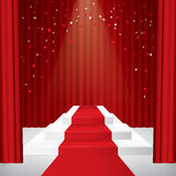 Illuminated stage podium with confetti. Red curtain and red carpet. Vector illustration Royalty Free Stock Images