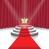 Illuminated stage podium with crown, red carpet and curtain background for award ceremony,  Vector illustration Stock Image