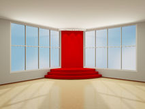 Illuminated stage podium with red carpet. 3D modern interior. Illuminated stage podium with red carpet in the hall with large windows. 3D modern interior Royalty Free Stock Images