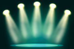 Illuminated stage with scenic lights Royalty Free Stock Image