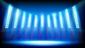 Illuminated stage on the stadium. Vector illustration. Illuminated stage before the concert on big stadium. Vector illustration Royalty Free Stock Photography