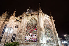 Illuminated stained glass windows, Milan Royalty Free Stock Photo