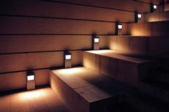 Illuminated stairs. Modern minimalism style stairs with night lighting Stock Photography
