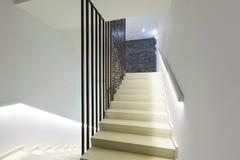 Illuminated stairs in modern luxury hotel Stock Photos