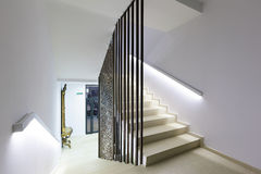 Illuminated stairs in modern luxury hotel Stock Photo