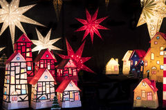 Illuminated stars and houses Stock Photography
