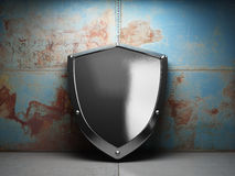 Illuminated steel shield Stock Photos