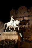 Illuminated stone statue at night Royalty Free Stock Image