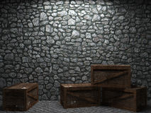 Illuminated stone wall and boxes Stock Photography