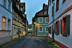 Illuminated street of gerrman town Bamberg. Stock Images