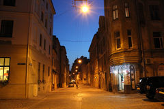 Illuminated street of Lviv city Royalty Free Stock Image