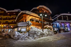 Illuminated Street of Madonna di Campiglio at Night Stock Photography