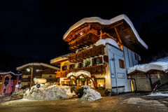 Illuminated Street of Madonna di Campiglio at Night Stock Images
