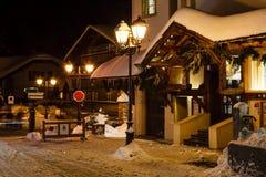 Illuminated Street of Megeve on Christmas Eve Stock Photography