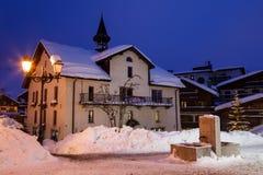Illuminated Street of Megeve on Christmas Eve Stock Image